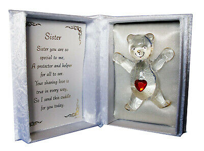 £9.99 • Buy Red Heart Crystal Teddy Bear Cuddle Box With Poem Romantic Gift Box For Sister