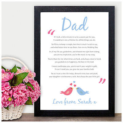 Father Of The Bride Personalised Thank You Gifts Dad Daddy Wedding Favour Poem • 4.95£