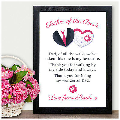 £4.95 • Buy Dad Personalised Poem Keepsake For Father Of The Bride Thank You Favours Gifts