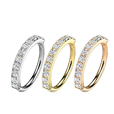 Nose Ring Hoop Rook Helix Ear Studs Cuff Cartilage Crystal Zircon Diamante 6/8mm • 3.99£