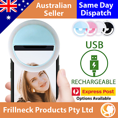 AU6.89 • Buy 3 Modes Selfie LED Ring Fill Light Camera Rechargeable For IPhone Android Phone