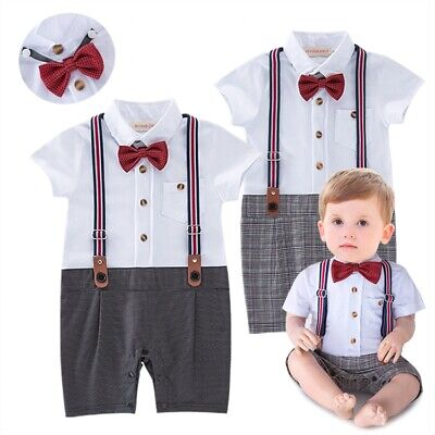 £10.99 • Buy Baby Boy All-in-one Short Sleeve Gentleman Bow Tie Bodysuit Outfit Party 6-24m