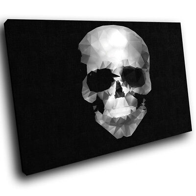 ZAB376 Black White Skull Modern Canvas Abstract Home Wall Art Picture Prints • 19.99£