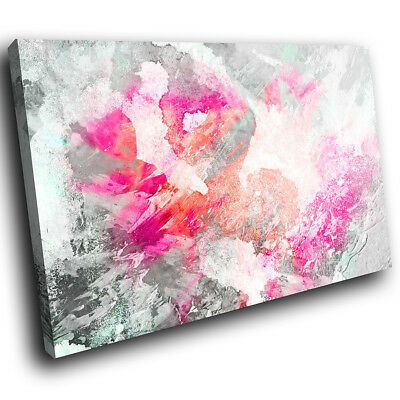 ZAB1699 Pink Grey Orange Modern Canvas Abstract Home Wall Art Picture Prints • 19.99£