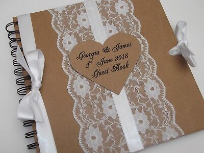 Personalised Vintage Wedding Guest Book / Album Lace & Satin Shabby Chic Kraft • 18.99£