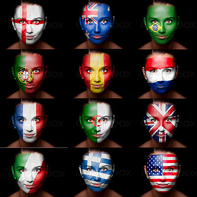 World Cup Football Face Paint ALL FLAGS England Brazil France Spain Italy + More • 3.49£