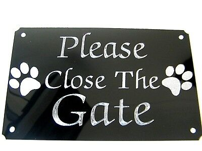 PLEASE CLOSE THE GATE ENGRAVED PLAQUE PLATE SIGN 5x3  STICK ON-SCREW ON,DOG.SHUT • 5.99£