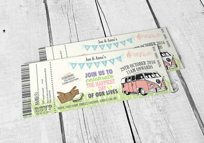 £32 • Buy 25 Pastel Bunting Wedding Wedfest Camper Van Ticket Wedding Invitations Invites!