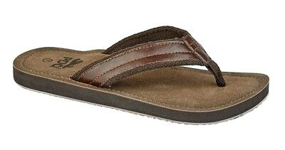 PDQ Leather Look Flip Flops Toe Post Beach Summer Shoes Sandals Brown 6-12 UK • 12.89£