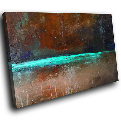 AB1515 Retro Brown Teal Cool Modern Abstract Canvas Wall Art Large Picture Print • 19.99£