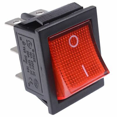 Red Illuminated On-Off Rectangle Rocker Switch 220V DPDT • 1.99£