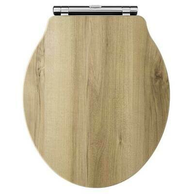 Hudson Reed Chancery Soft Close Toilet Seat Natural Walnut Chrome Hinges • 67.95£