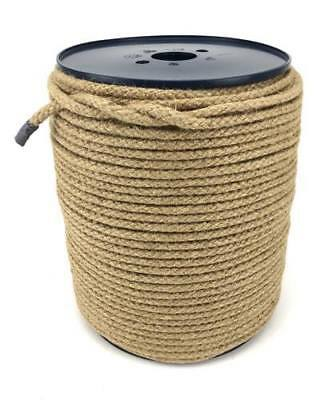 8mm Braided Natural Jute Sash Cord Rope X 100 Metre Reel, Twine Plant Support • 35£