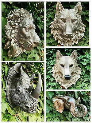 £33.24 • Buy Garden Animal Head Tiger Elephant Wolf Stag Wall Sculpture Home Décor Ornament
