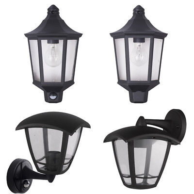 LED Outdoor Exterior Half Lantern Wall Porch Up Light Black Security Sensor PIR • 14.99£