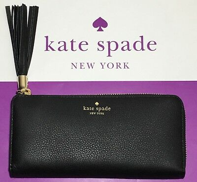 $ CDN89.61 • Buy NWT Kate Spade Nisha Atwood Place Pebbled Leather Black Wallet W/ Black Fringe