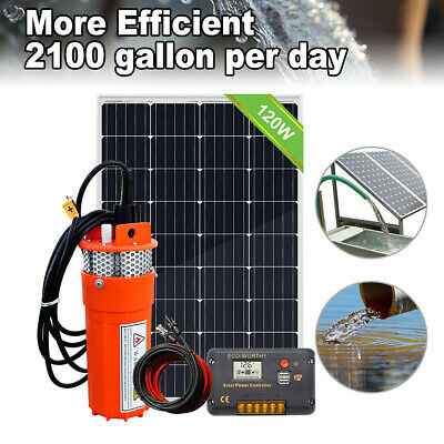 100W Solar Powered Panel &12V DC Deep Well Submersible Solar Water Pump For Farm • 137.02£