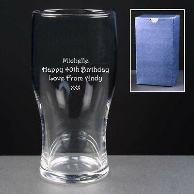 Personalised 1 Pint Tulip Lager Beer Glass Engraved 40th 50th 60th Birthday Gift • 8.99£