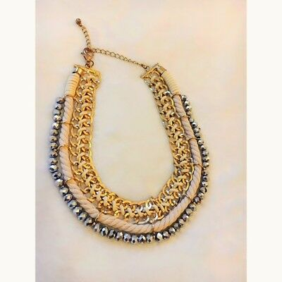 £5 • Buy Gold Chain, Silver Bead & Rope Detailed Statement Necklace - Miss Selfridge.