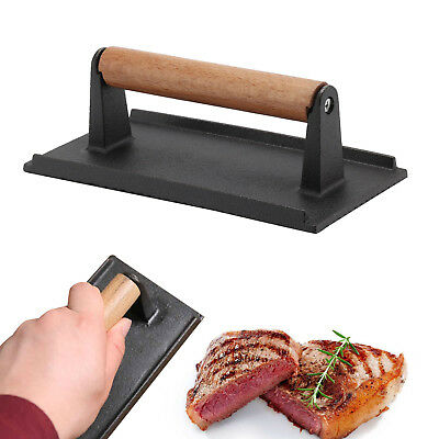 £11.19 • Buy Cast Iron Bacon Steak Meat Press Grill BBQ Cooking Weight Kitchen Barbeque New