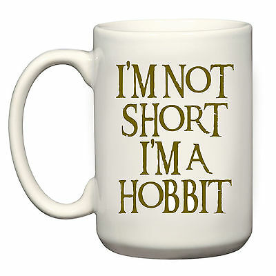 NEW  I'M NOT SHORT I'M A HOBBIT  GIFT 15oz BIG MUG CUP LORD OF THE RINGS LOTR • 9.99£