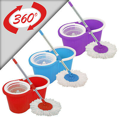 £11.45 • Buy Spin Mop And Bucket 360°  Red, Blue & Purple  Home Cleaning With 2/3/4 Mop Heads
