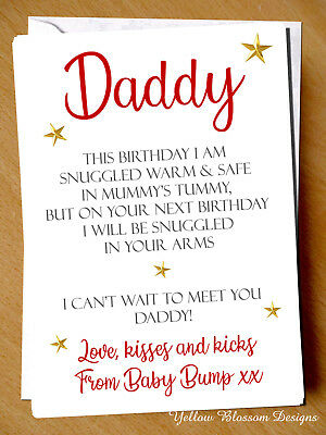 £2.99 • Buy Daddy To Be Love From Baby Bump 1st Birthday Card Poem Dad Father Pregnant Cute