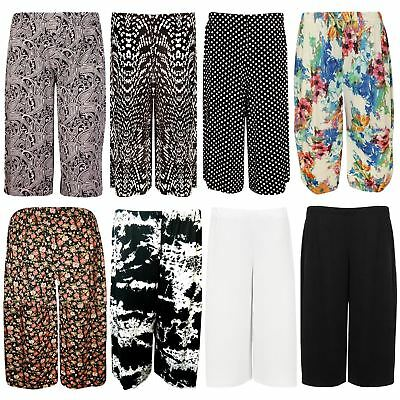 £4.50 • Buy New Ladies Plus Size Printed Knee Length Palazzo Wide Leg Shorts Culottes 16-26