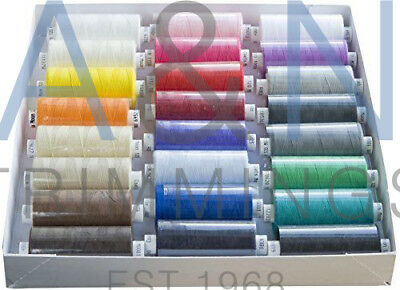 Coats Moon Tkt120 Box Of 24 Reels Spun Polyester Sewing Thread Mix Stand Colours • 17.49£