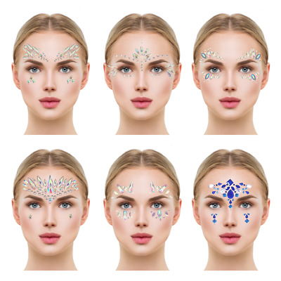£2.49 • Buy Face Crystal Sticker Eye Crafted Body Jewels Festival Temporary Tattoo Glitter