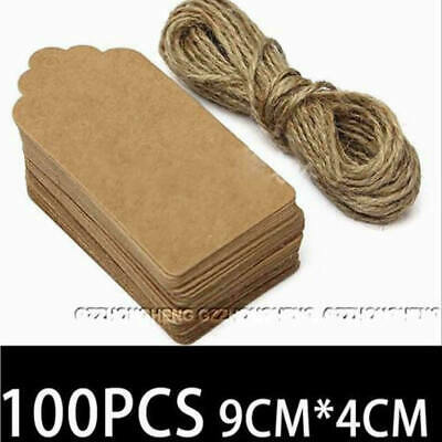 100Pcs Christmas Hat Kraft Paper Gift Tags Scallop Label Luggage Blank + Strings • 3.79£