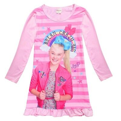 AU17.95 • Buy JOJO SIWA Girls Spring Autumn Long Sleeve Dress Nightie Pjs Pyjamas Size 2-10