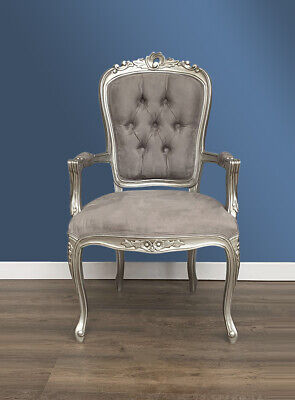 French Louis XV Elise Armchair  - Silver With Brushed Grey Satin • 195£