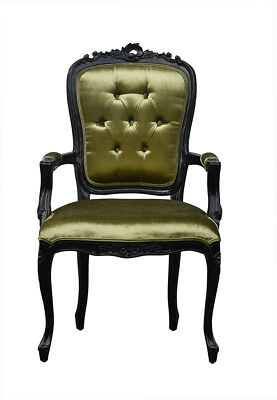 French Louis XV Elise Armchair  - Black  With  Khaki Satin • 129£