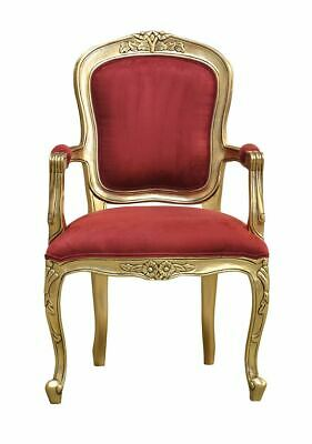 French Louis Gold Armchair    Wine Velvet Upholstery - Elise - French Furniture • 195£