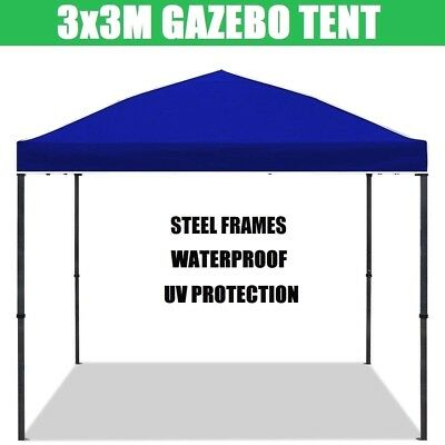 AU99.95 • Buy Blue 3x3m Gazebo Outdoor Pop Up Tent Folding Marquee Party Camping Shade Canopy