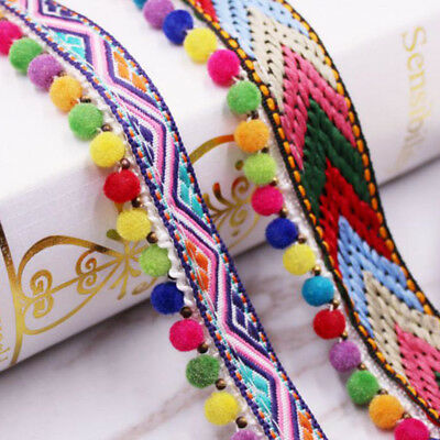 Ball Tassel Rainbow JUMBO Pom Pom Bobble Trim Jacquard Fringe Ribbon -1 Yard • 3.69£