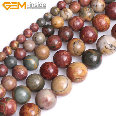 £2.38 • Buy Natural Gemstone Picasso Jasper Round Loose Beads For Jewellery Making 15  UK