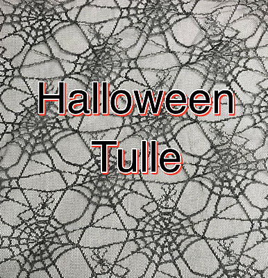£2.25 • Buy HALLOWEEN TULLE FABRIC Scary Spiderweb Net Craft Witch Cape Dress Fabric