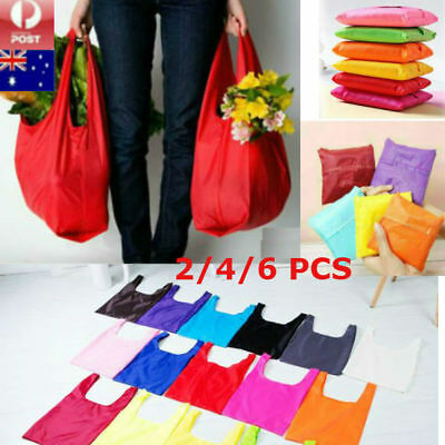AU11.25 • Buy 2/4/6 PCS Foldable Shopping Reusable Bags Eco Grocery Bag Storage Tote Handbags