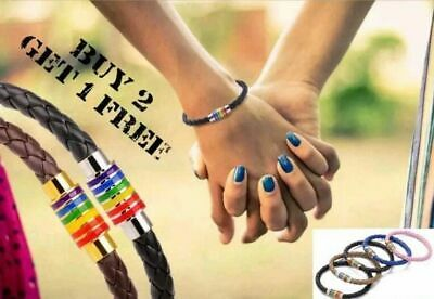 Pride LGBT Rainbow Unisex Leather Bracelet Gay Pride Jewellery Lesbian Bisexual  • 3.49£