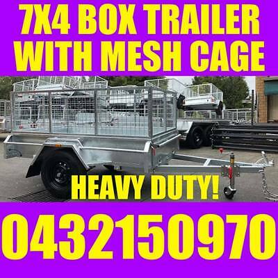 AU1549 • Buy 7x4 Galvanised Box Trailer With Cage Heavy Duty