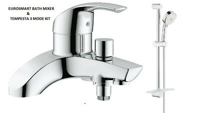 GROHE Eurosmart Lever Bath Shower Mixer Tap Slider Rail Kit 25105000 + 27576002 • 209.95£