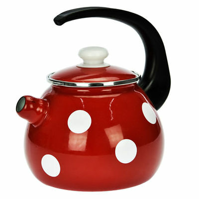 Enamel Stainless Steel Whistling Kettle 2,5L Hob Stove Gas Induction Red Dots  • 19.52£