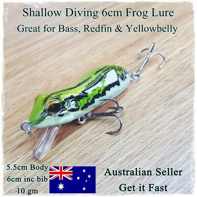 AU7.45 • Buy Green Frog Fishing Lure, Redfin, Bass, Yellowbelly, Barra, Trout, Cod, Perch 6cm