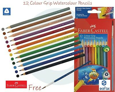 £5.99 • Buy FABER CASTELL 12 Shades Water Colour Triangular Easy Grip Pencils + Free Brush
