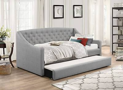 £369.99 • Buy Day Bed Grey Fabric Single Guest Bed With Trundle Optional Mattress Aurora