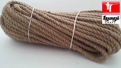 10 Mm Natural Jute Hessian Rope Cord Braided Twisted Boating Sash Garden Decking • 2.19£