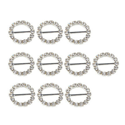 10pcs 16mm Crystal Round Buckle Invitation Ribbon Slider For Gift Wrapping • 3.21£