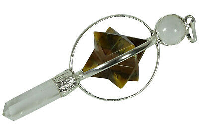 Spiritual Dowsing Pendulum Tiger Eye Merkaba Pencil Pendant Reiki Gemstones • 7.59£